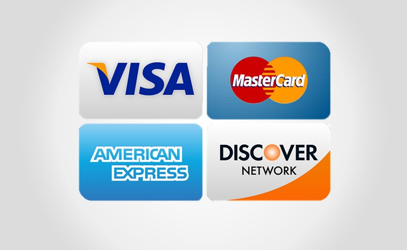 alt=pictures of different credit cards electrical contractors accept.""""